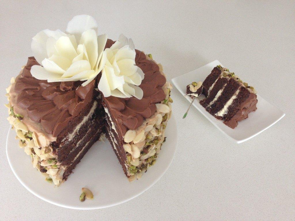 Hand and flowers chocolate cake recipe