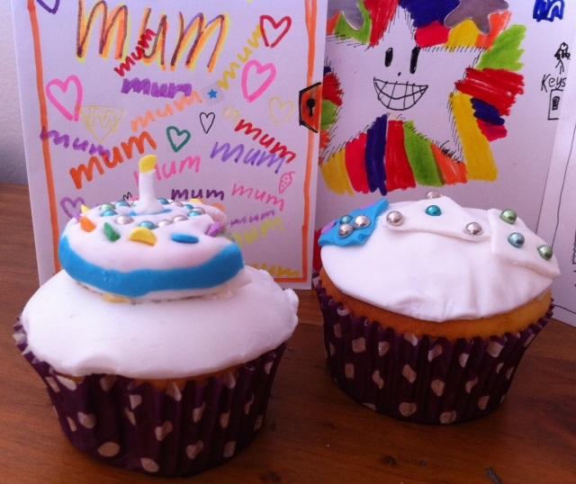 birthday fondant cupcakes by the kids