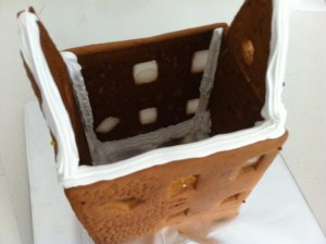 pin gingerbread house and ice to glue
