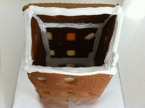 put the roof on the gingerbread house