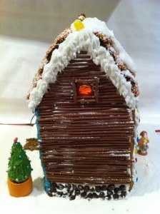 gingerbread house decoration using chocolate