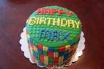 round lego boys birthday cake