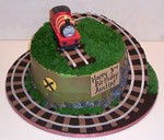 james the red engine train birthday cake