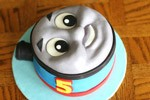 thomas the tank engine train face fondant birthday cake