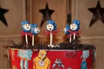 thomas the tank engine cake pops