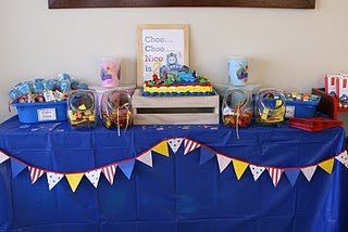 thomas the tank engine train birthday candy table