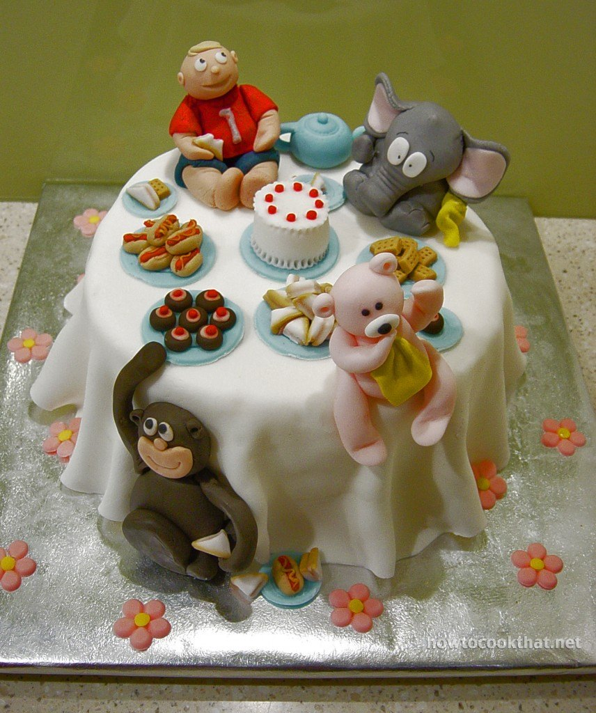 fondant cake decorations first birthday cake ideas monkey teddy elephant