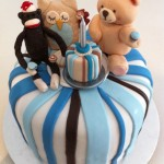 1st birthday cake sock monkey owl teddy bear fondant
