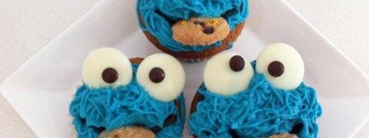 easy cookie monster cupcakes