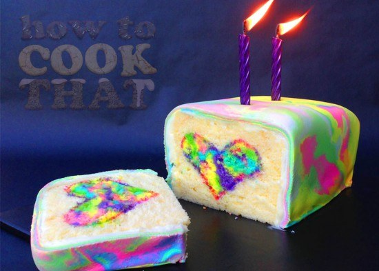 rainbow tie-dyed surprise cake