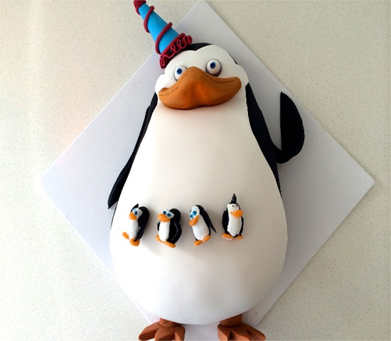 Simple Penguin Birthday Cake