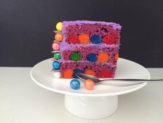 Sponge Cake With Coloured Balls Inside