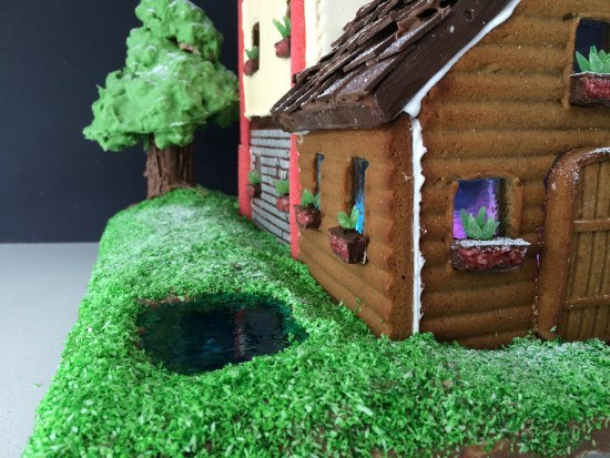gingerbread house pond tree ideas