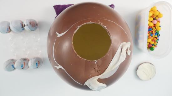 DIY ginat chocolate kinder surprise egg