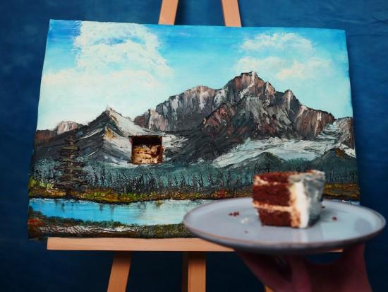 bob ross painting cake