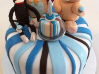 1st birthday cake sock monkey owl teddy bear fondant