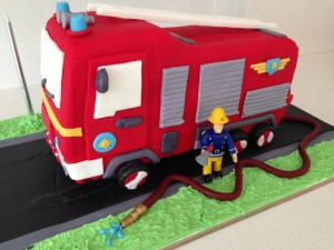 fire truck engine birthday cake