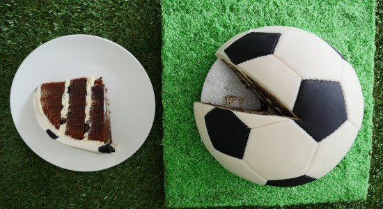 soccer cake sliced yummy chocolate