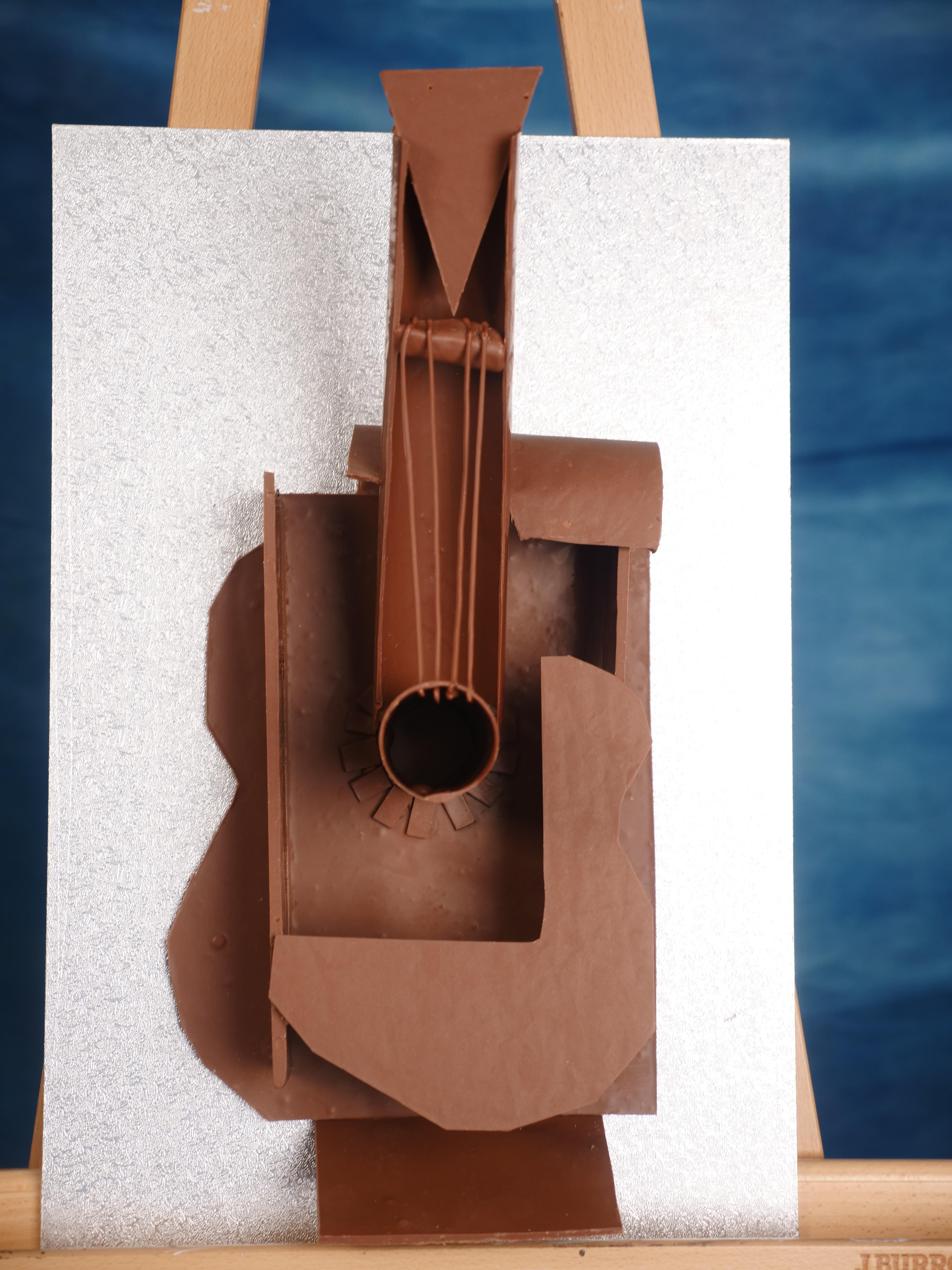Chocolate Picasso Guitar Sculpture